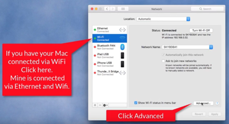 wifi router ip in mac